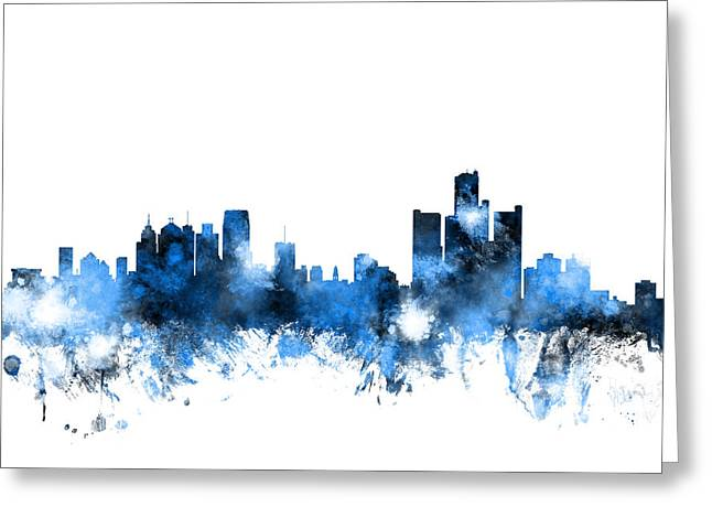 United States Greeting Cards - Detroit Michigan Skyline Greeting Card by Michael Tompsett