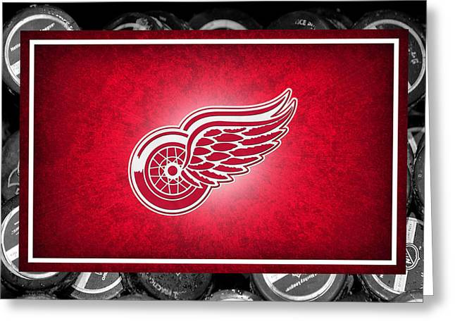 Ice Skates Greeting Cards - Detroit Red Wings Greeting Card by Joe Hamilton
