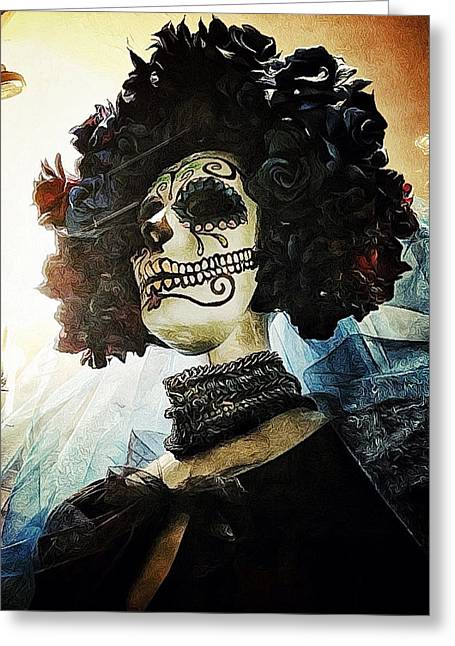 Creepy Digital Art Greeting Cards - Dia de los Muertos Greeting Card by Natasha Marco