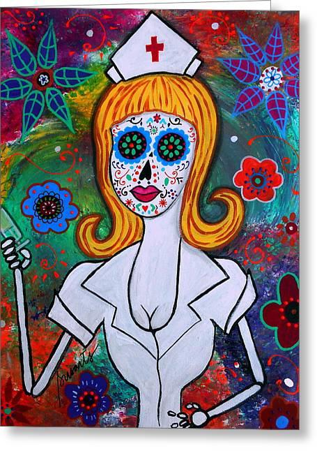 Hot Nurses Greeting Cards - Dia De Los Muertos Nurse Greeting Card by Pristine Cartera Turkus