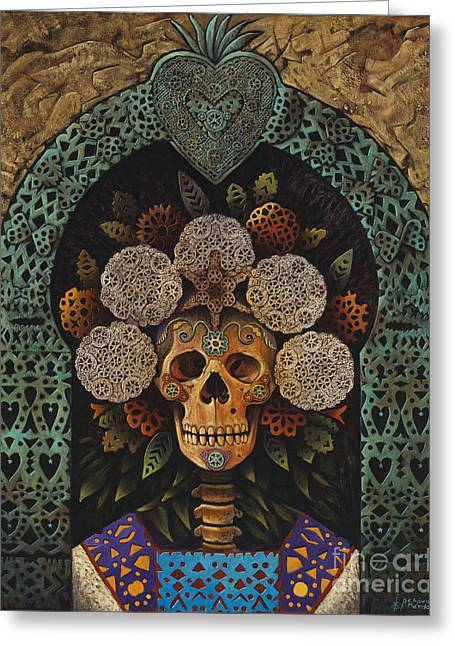 Teal Mixed Media Greeting Cards - Dia De Muertos Madonna Greeting Card by Ricardo Chavez-Mendez