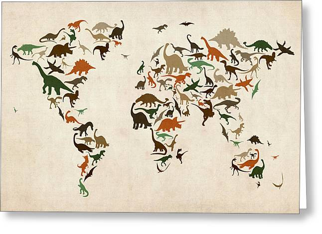 World Map Print Greeting Cards - Dinosaur Map of the World Map Greeting Card by Michael Tompsett