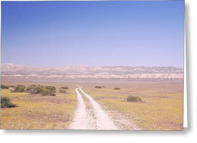 San Luis Obispo Greeting Cards - Dirt Road Passing Through A Landscape Greeting Card by Panoramic Images