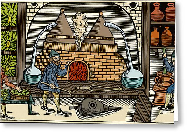 Essential Greeting Cards - Distillation, Middle Ages Greeting Card by Science Source