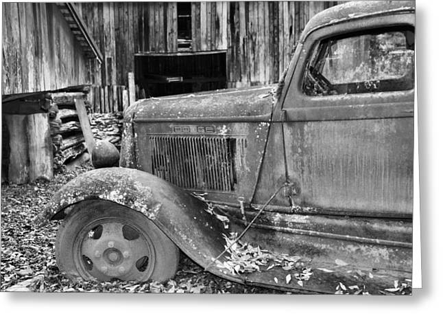 Old Wood Cabin Greeting Cards - Dodge In The Country Greeting Card by Dan Sproul