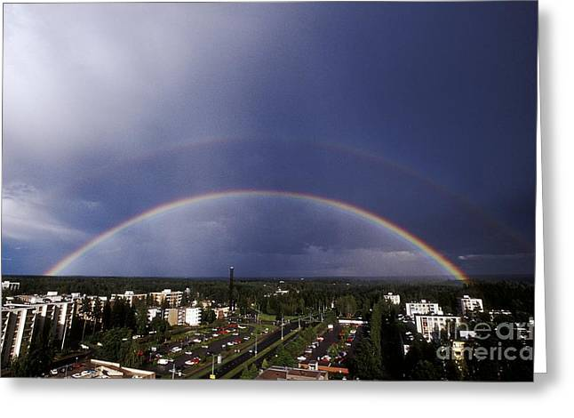 Full Spectrum Greeting Cards - Double Rainbow Over A Town Greeting Card by Pekka Parviainen