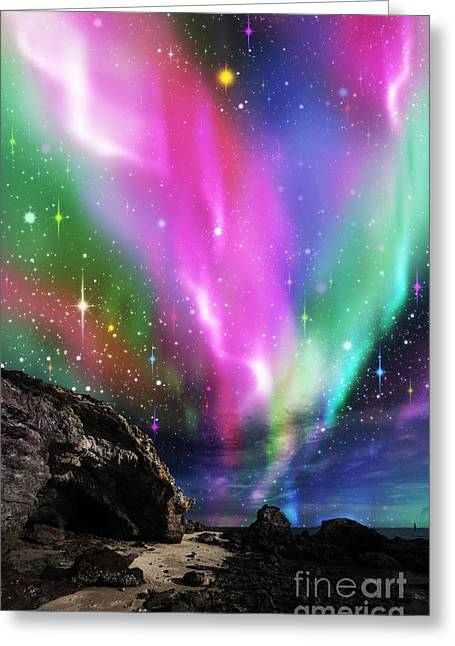 Particles Greeting Cards - Dramatic Aurora Greeting Card by Atiketta Sangasaeng