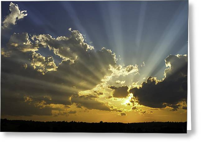 Shine Greeting Cards - Dramatic Sunbeams And Storm Clouds Maine Fine Art Print Greeting Card by Keith Webber Jr