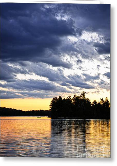 Two Rivers Greeting Cards - Dramatic sunset at lake Greeting Card by Elena Elisseeva