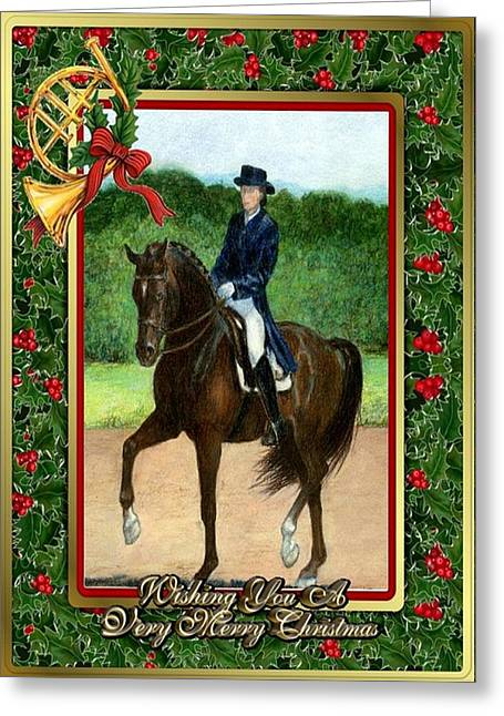 Dressage Drawings Greeting Cards - Dressage Horse Christmas Card Greeting Card by Olde Time  Mercantile