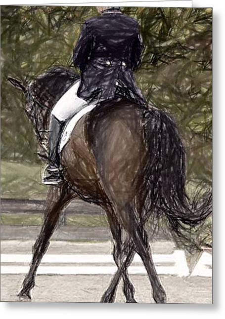 Dressage Drawings Greeting Cards - Dressage Horse Portrait Greeting Card by Olde Time  Mercantile