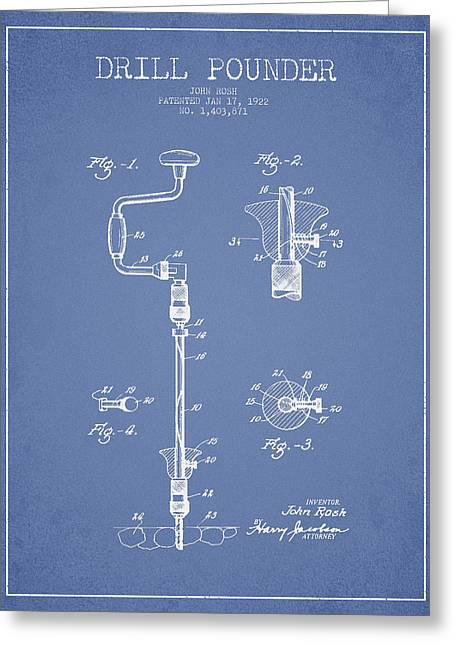 Craftsman Greeting Cards - Drill Pounder Patent Drawing From 1922 Greeting Card by Aged Pixel