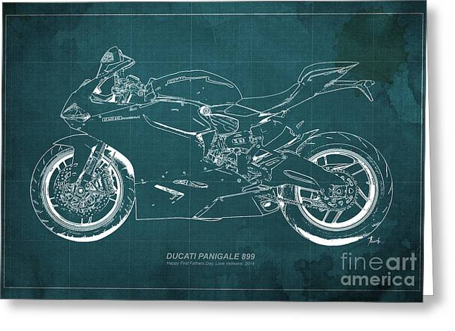 Teen Drawings Greeting Cards - Ducati 899 Custom for Bianca Greeting Card by Pablo Franchi