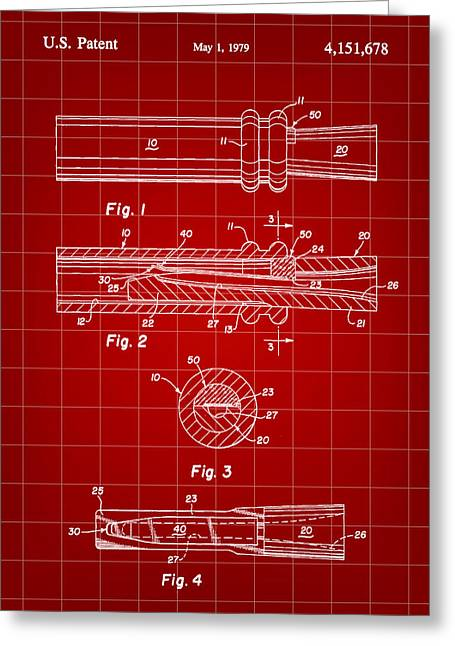 Duck Dynasty Greeting Cards - Duck Call Patent 1979 - Red Greeting Card by Stephen Younts