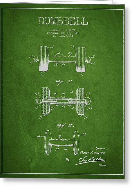 Bodybuilding Greeting Cards - Dumbbell Patent Drawing from 1927 Greeting Card by Aged Pixel