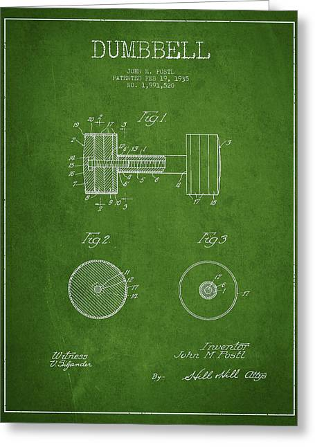 Gym Greeting Cards - Dumbbell Patent Drawing from 1935 Greeting Card by Aged Pixel