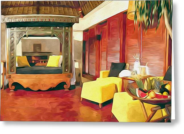 Chaise-lounge Greeting Cards - Duplex Villa Greeting Card by Lanjee Chee