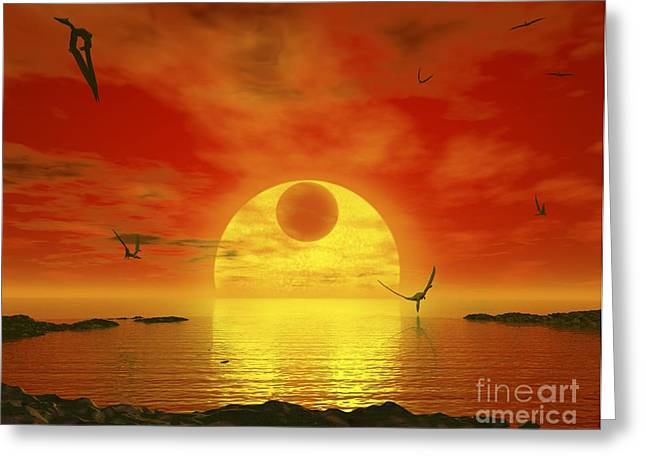 Ocean Vista Greeting Cards - Earthlike Planet Gliese 581 C, Artwork Greeting Card by Walter Myers