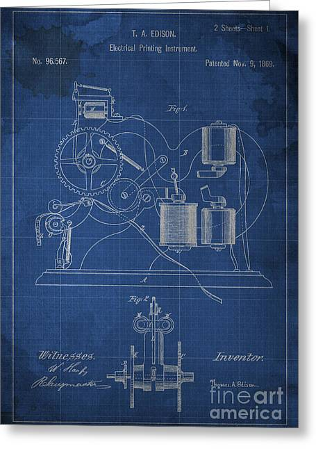 Edison Greeting Cards - Edison Electrical Printing instrument Blueprint Greeting Card by Pablo Franchi