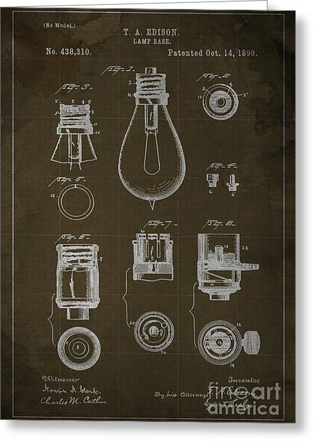 Edison Greeting Cards - Edison Lamp Base Patent Blueprint Greeting Card by Pablo Franchi