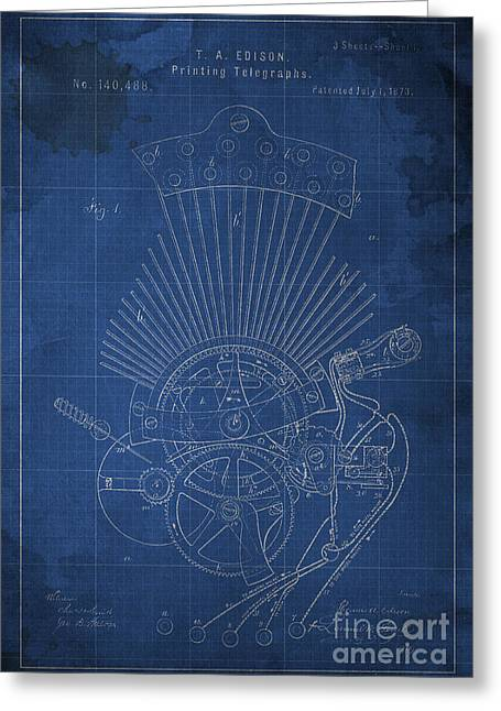 Edison Printing Telegraphs Patent Blueprint 1 Greeting Card by Pablo Franchi