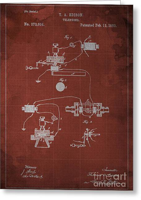 Edison Telephone Patent Blueprint 1 Greeting Card by Pablo Franchi