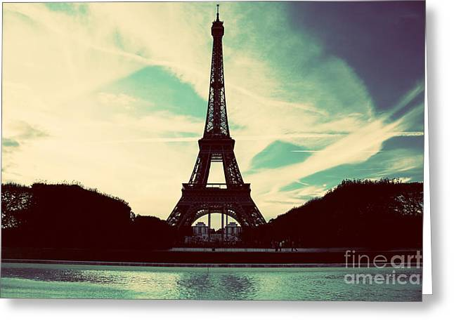 Summer Scene Greeting Cards - Eiffel Tower in Paris Fance in retro style Greeting Card by Michal Bednarek
