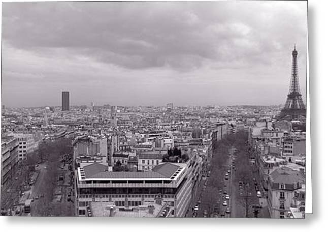Overcast Day Greeting Cards - Eiffel Tower, Paris, France Greeting Card by Panoramic Images
