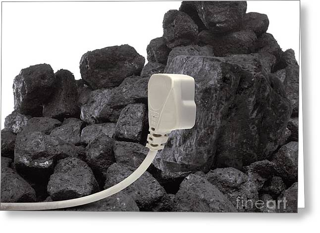 Industrial Concept Greeting Cards - Electricity From Coal, Conceptual Image Greeting Card by Victor de Schwanberg