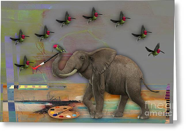 African Greeting Cards - Elephant Painting Greeting Card by Marvin Blaine