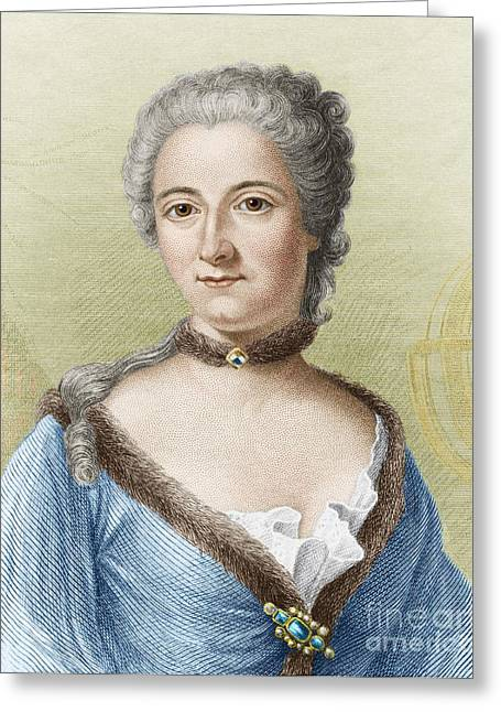 Shoulder-fired Greeting Cards - Emilie Du Chatelet, French Physicist Greeting Card by Sheila Terry