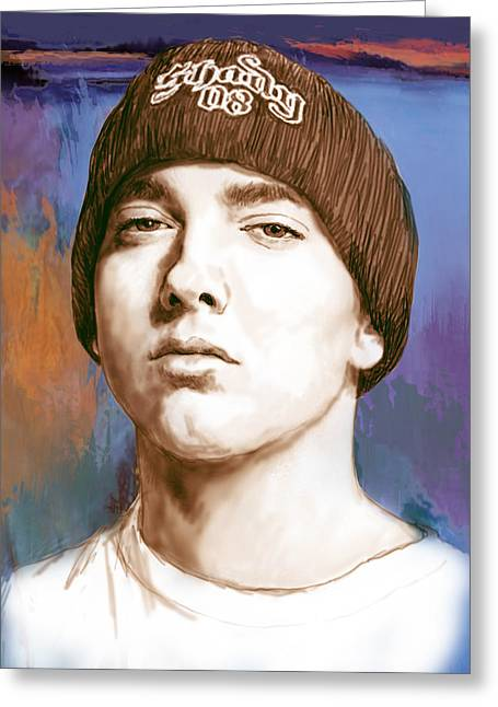 Featured Mixed Media Greeting Cards - Eminem - stylised drawing art poster Greeting Card by Kim Wang