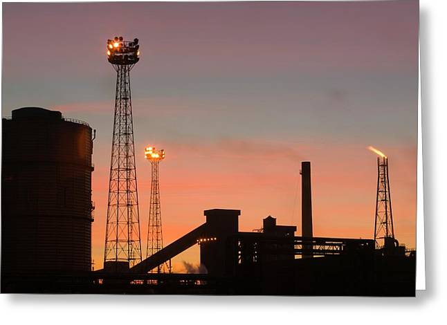Emissions From The Corus Steelworks Greeting Card by Ashley Cooper