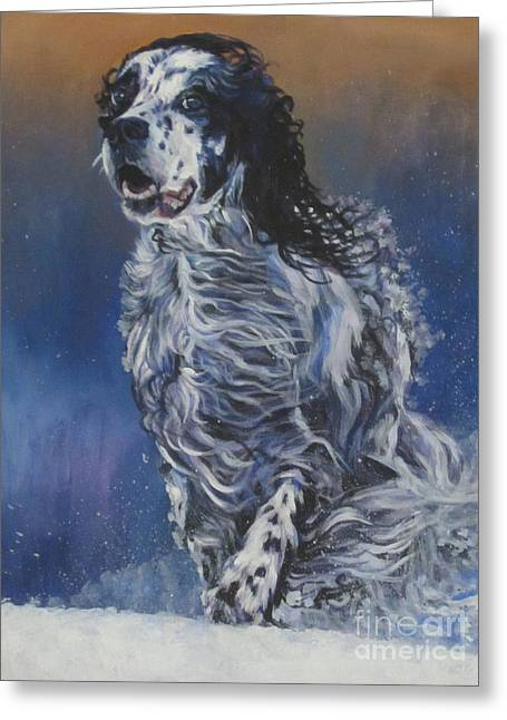 Snowy Day Greeting Cards - English Setter Greeting Card by Lee Ann Shepard