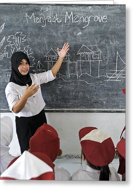 Schoolgirl Greeting Cards - Environmental education, Indonesia Greeting Card by Science Photo Library