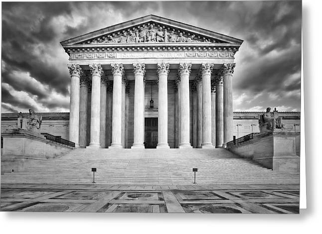 Legal System Greeting Cards - Equal Justice Under Law  Greeting Card by Susan Candelario