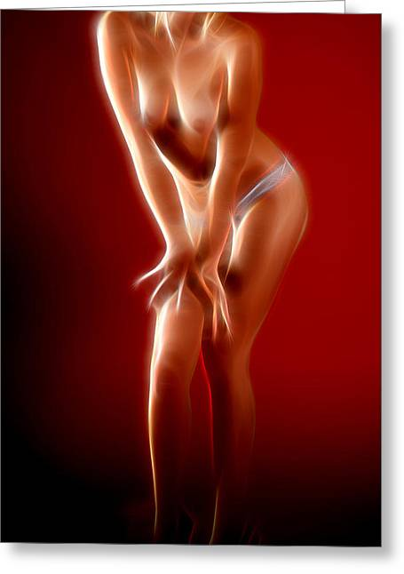 Supergirl Digital Art Greeting Cards - Erotic Artwork Greeting Card by Michael Vicin