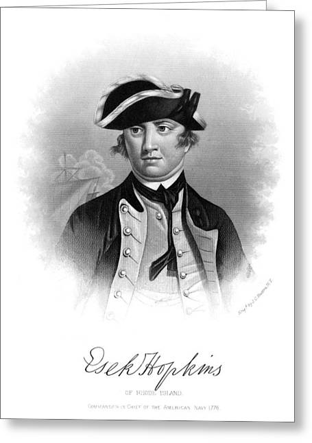 Autograph Greeting Cards - Esek Hopkins (1718-1802) Greeting Card by Granger