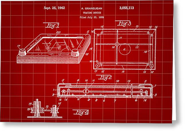 Drafting Greeting Cards - Etch A Sketch Patent 1959 - Red Greeting Card by Stephen Younts