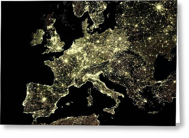 Europe At Night Greeting Card by Planetobserver