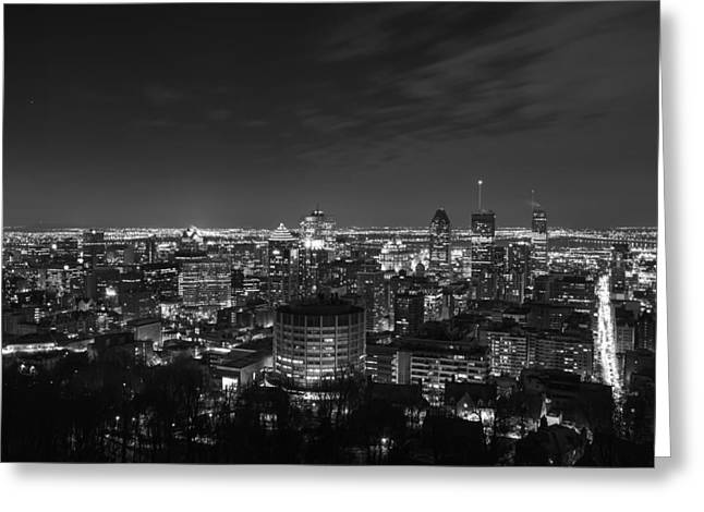 Snow And Night Sky Greeting Cards - Evening in Montreal Greeting Card by Mountain Dreams