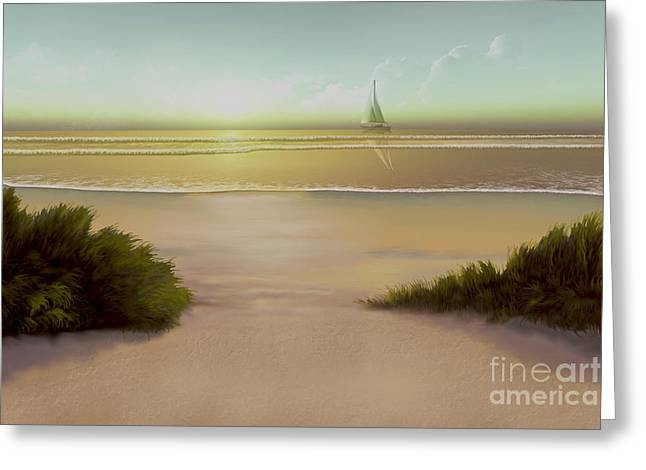 Nature Scene Paintings Greeting Cards - Evening Tide Greeting Card by Corey Ford