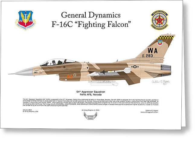 Steve Eggers Greeting Cards - F-16C Fighting Falcon Greeting Card by Arthur Eggers