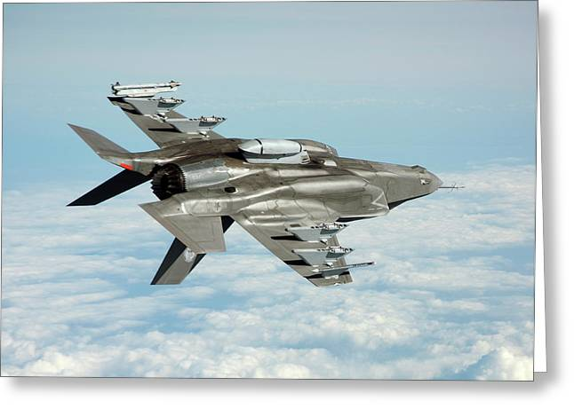 F-35b Fighter Jet Greeting Card by Us Defense