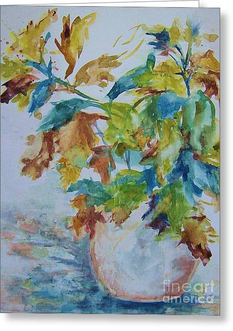 Blue Mixed Media Greeting Cards - Fall Beauty Greeting Card by BJ Pinkston