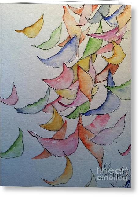 Wild Orchards Paintings Greeting Cards - Falling Into Place Greeting Card by Sherry Harradence