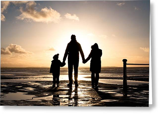 Parenthood Greeting Cards - Family at the coast Greeting Card by Tom Gowanlock
