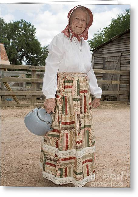 Antique Straight Pattern Greeting Cards - Farm Woman  Greeting Card by Jim Pruitt