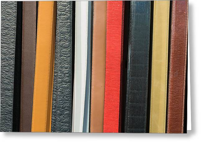 Leather Belt Greeting Cards - Fashion Belts  Greeting Card by Chay Bewley