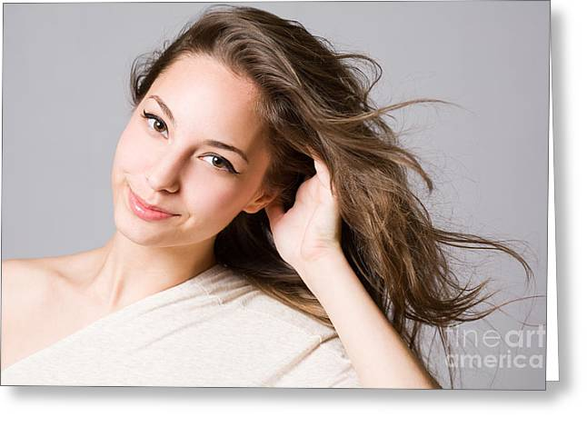 Gray Hair Greeting Cards - Fashionable young brunette beauty. Greeting Card by Alstair Thane